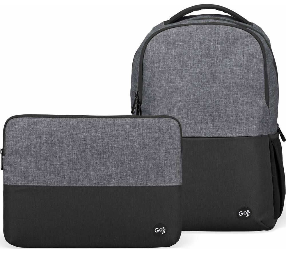 GOJI G14SLBP20 12.9 inch iPad Pro Backpack & 14 inch Laptop Sleeve Bundle - Black & Grey