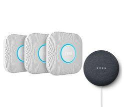 Nest Protect Smoke and Carbon Monoxide Alarms (2nd Gen) & Google Nest Mini (2nd Gen) Bundle