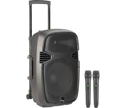 """15"""" Portable Speaker with Wireless Microphones"""