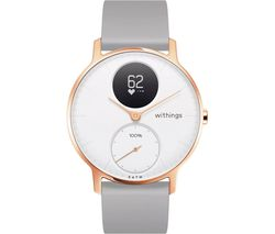 Steel HR Smartwatch - White, Rose Gold & Grey, Silicone Strap