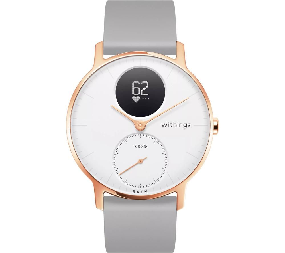 WITHINGS Steel HR Smartwatch - White, Rose Gold & Grey, Silicone Strap