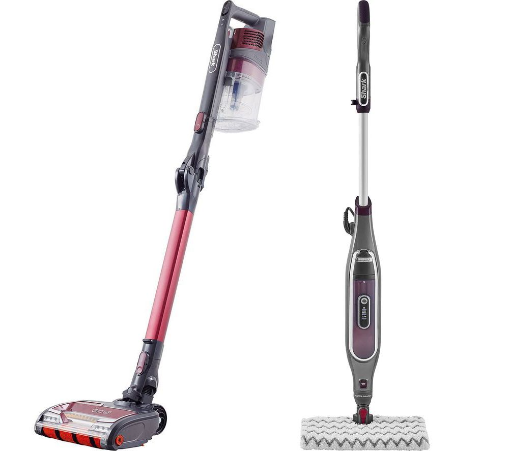 SHARK Flexology True Pet Anti Hair Wrap IZ251UKT Cordless Vacuum Cleaner & Klik N' Flip Steam Mop Bundle - Red