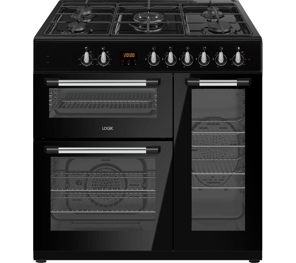 LOGIK LRC90B21 90 cm Dual Fuel Range Cooker - Black, Black