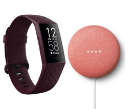 Charge 4 Fitness Tracker & Google Nest Mini (2nd Gen) Bundle - Rosewood & Coral