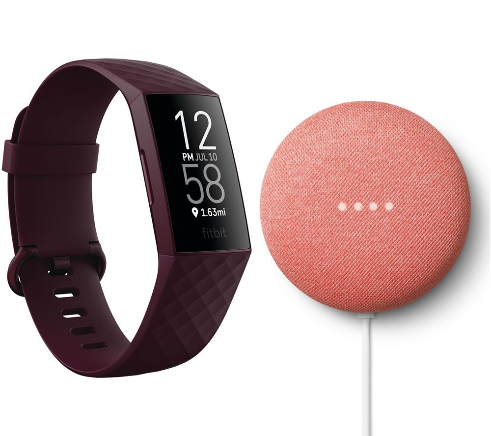 FITBIT Charge 4 Fitness Tracker & Google Nest Mini (2nd Gen) Bundle - Rosewood & Coral