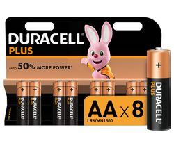 DURACELL LR6/MN1500 Plus Power AA Alkaline Batteries - Pack of 8