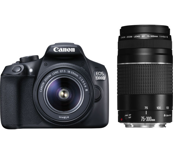 Image of CANON EOS 1300D DSLR Camera with EF-S 18-55 mm f/3.5-5.6 III & EF 75-300 mm f/4-5.6 III Lens