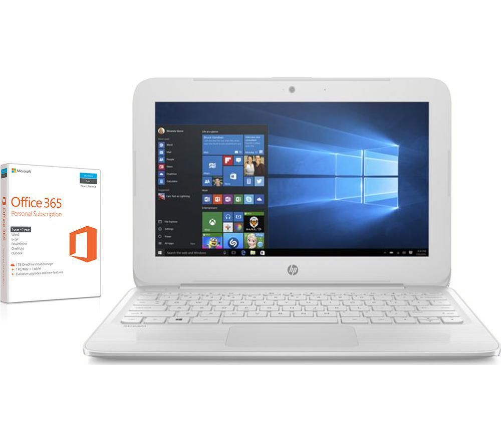 "HP Stream 11-y053na 11.6"" Laptop - White + Office 365 Home - 1 year for 5 users + LiveSafe Premium 2018 - 1 user / unlimited devices for 1 year"