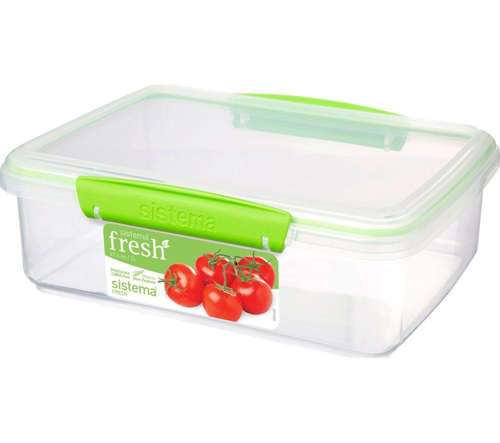 SISTEMA Fresh Rectangular 2 litre Container - Green