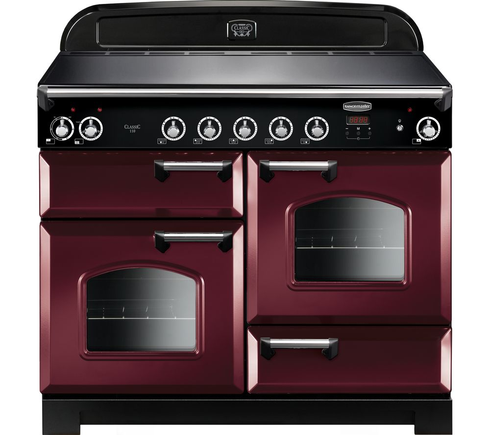 Image of Rangemaster Classic 110 cm Electric Induction Range Cooker - Cranberry & Chrome, Cranberry