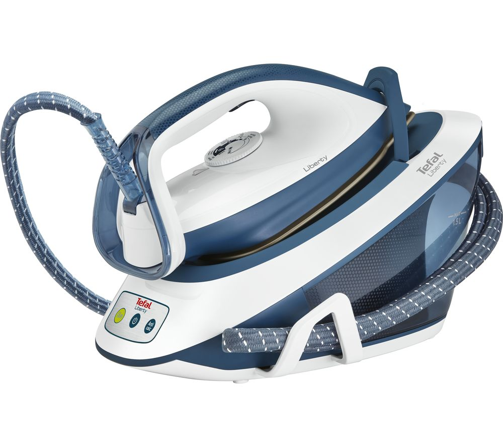 Image of TEFAL Liberty SV7030 Steam Generator Iron - Blue & White, Blue