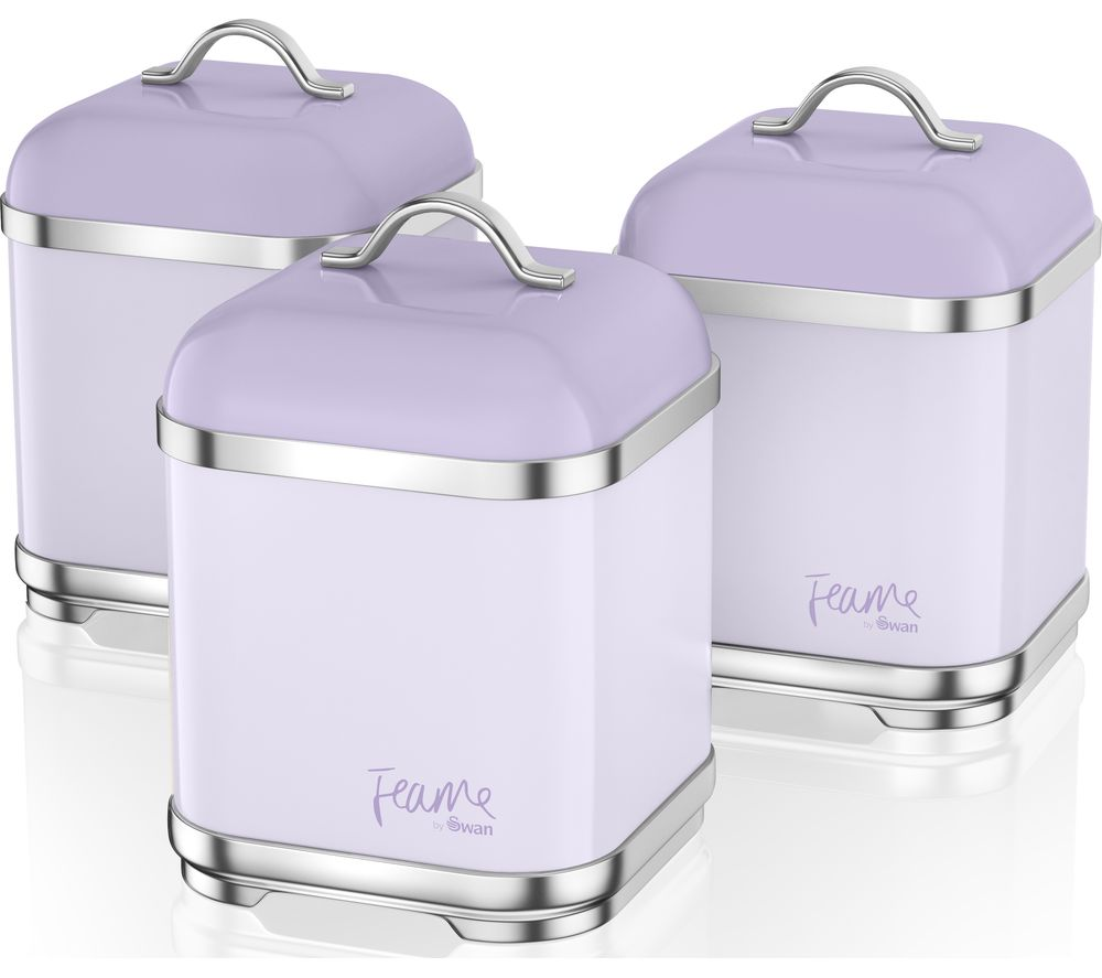 Fearne by Swan SWKA1025LYNSquare 1.5 litre Storage Canisters - Lily, Set of 3