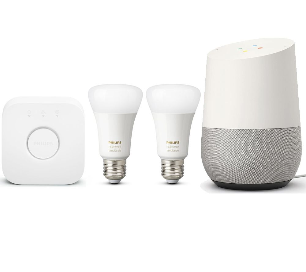 Image of GOOGLE Home & Hue White and Colour Ambience Mini E27 Smart Bulb Starter Kit Bundle - White, White