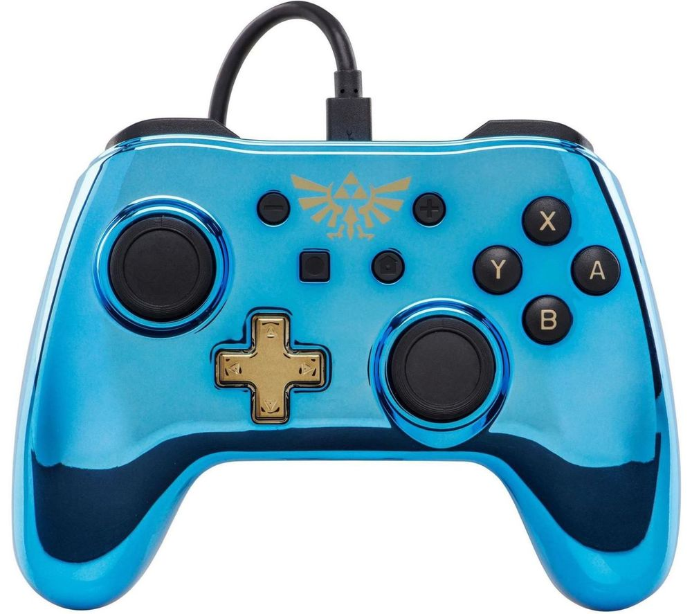 POWERA Nintendo Switch Wired Controller - Blue Chrome Zelda, Blue
