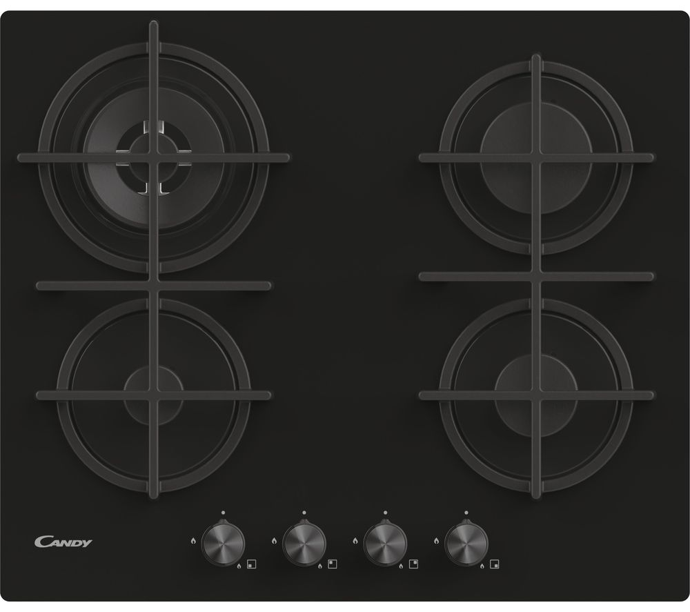 CANDY CDK6GR4PBB Gas Hob – Black, Black