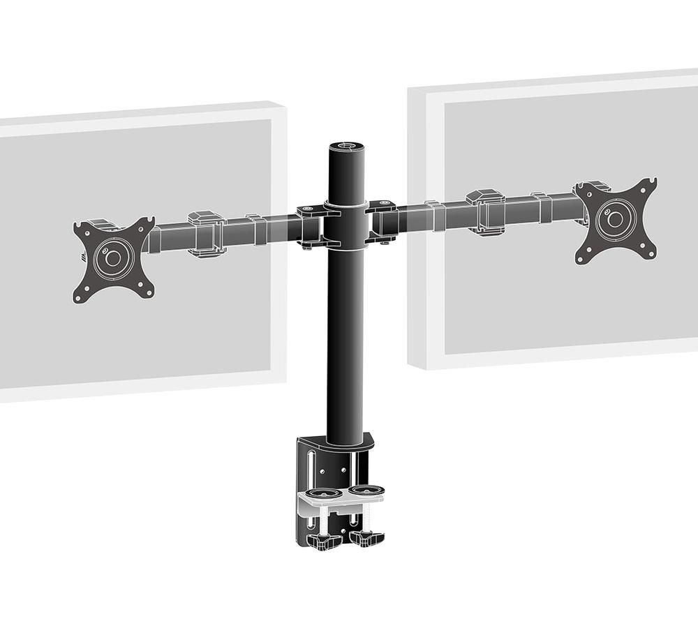 Image of IIYAMA DS1002C-B1 Dual Screen Desk Mount for Desktop Monitors - Black, Black