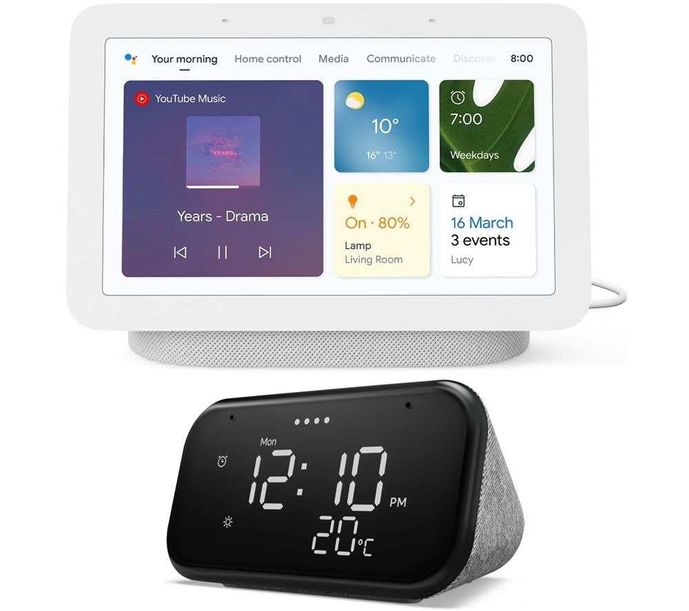 GOOGLE Nest Hub (2nd Gen) Chalk Smart Display & Lenovo Smart Clock Essential Bundle