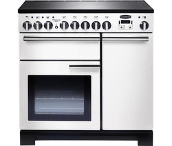 RANGEMASTER Professional Deluxe 90 Electric Induction Range Cooker - White & Chrome Best Price, Cheapest Prices