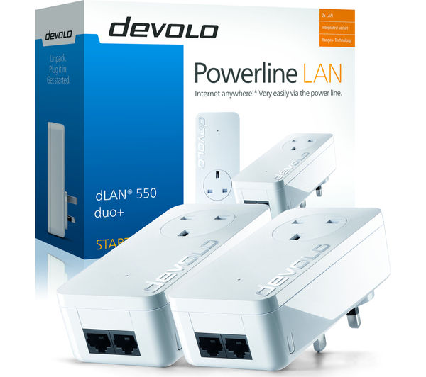 buy devolo dlan 550 duo powerline adapter kit twin pack free delivery currys. Black Bedroom Furniture Sets. Home Design Ideas