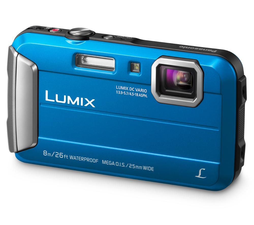 PANASONIC Lumix DMC-FT30EB-A Tough Compact Camera - Blue + SWCOM13 Camera Case - Black + Extreme Plus Class 10 SD Memory Card - 16 GB, Twin Pack