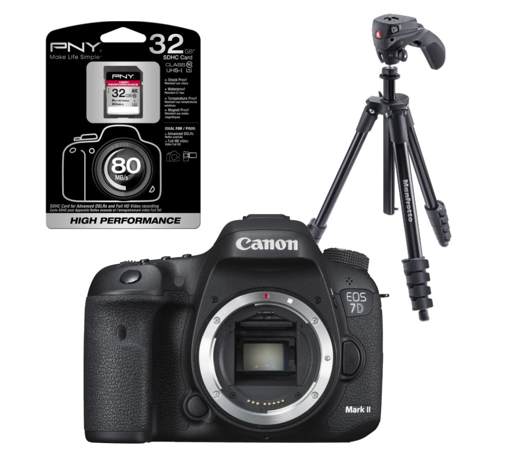 CANON EOS 7D Mark II DSLR Camera with Compact Action Tripod & High Performance Class 10 SDHC Memory Card - 32 GB