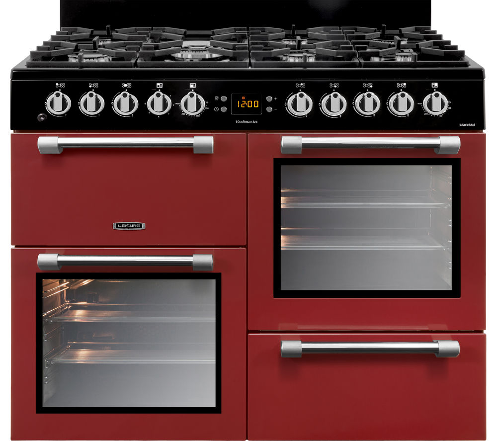 LEISURE Cookmaster 100 CK100F232R 100 cm Dual Fuel Range Cooker - Red & Chrome, Red