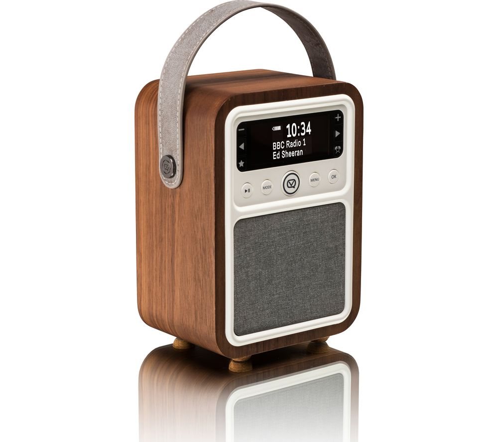Vq Monty Portable Dabﱓ Bluetooth Clock Retro Radio Walnut