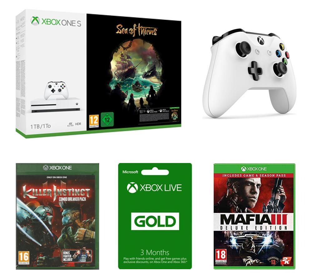 Image of MICROSOFT Xbox One S, Sea of Thieves, Mafia III Deluxe Edition, Killer Instinct Combo Breaker Pack, Xbox Wireless Controller & Xbox LIVE Gold Bundle, Gold