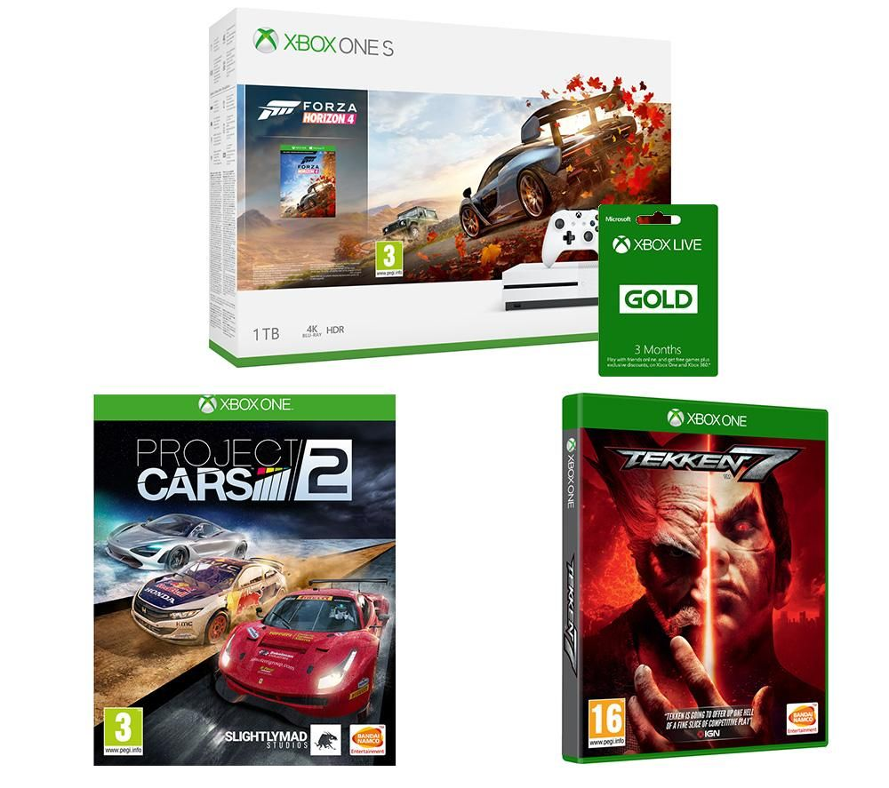 Image of MICROSOFT Xbox One S, Forza Horizon 4, Tekken 7, Project Cars 2 & Xbox LIVE Gold Bundle, Gold