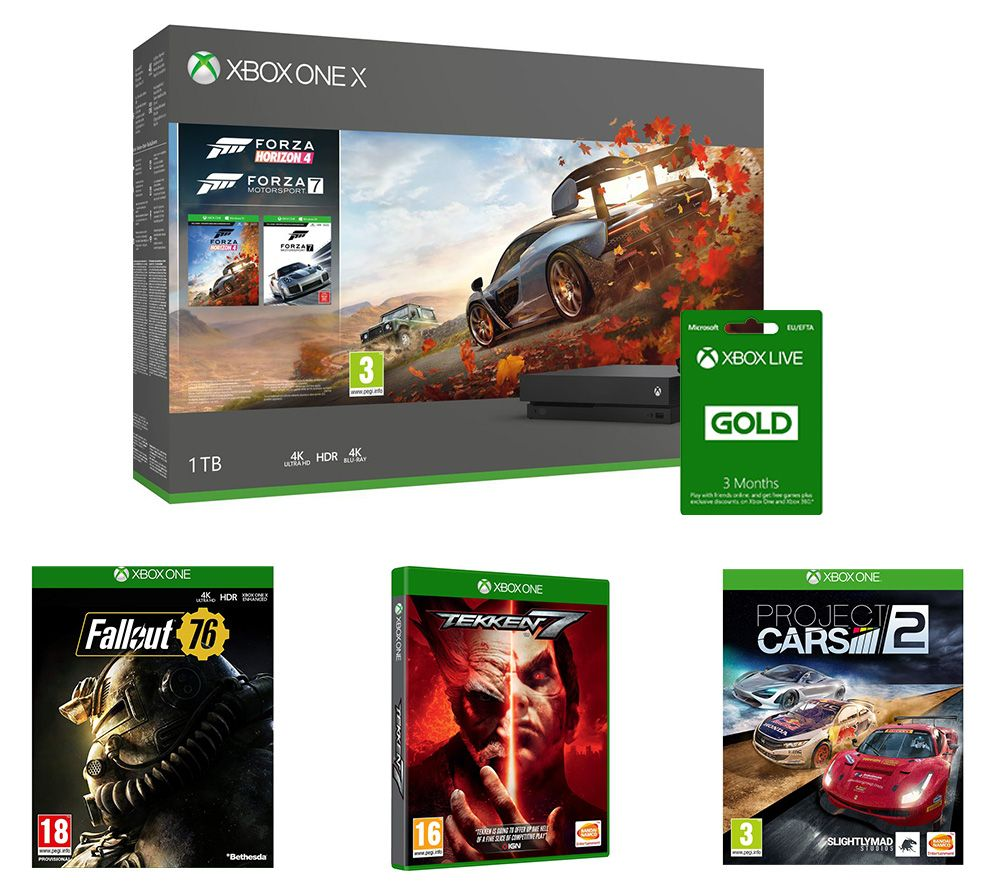 MICROSOFT Xbox One X, Forza Horizon 4, Forza Motorsport 7, Project Cars 2, Tekken 7, Fallout 76 & 3 Months LIVE Gold Bundle