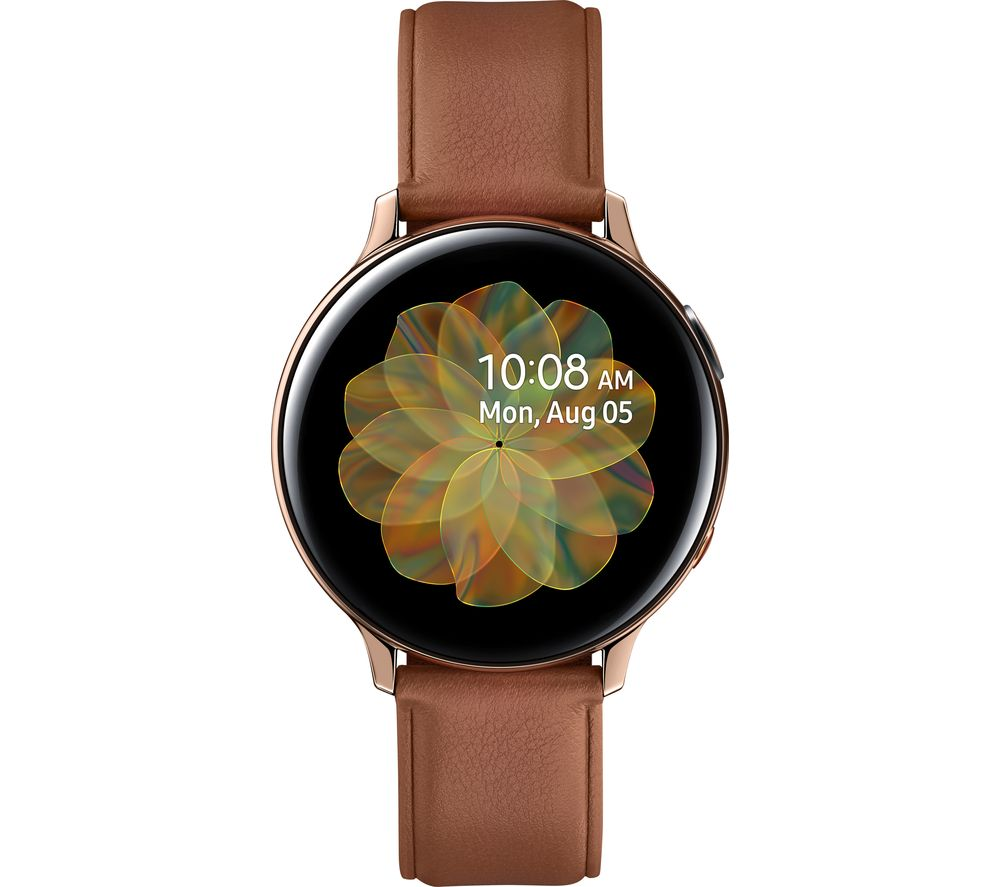 SAMSUNG Galaxy Watch Active2 4G - Gold, Leather & Stainless Steel, 44 mm