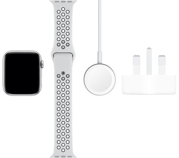 Treinta hospital estómago  Buy APPLE Watch Series 5 Cellular - Silver Aluminium with Platinum & Black  Nike Sports Band, 44 mm | Free Delivery | Currys