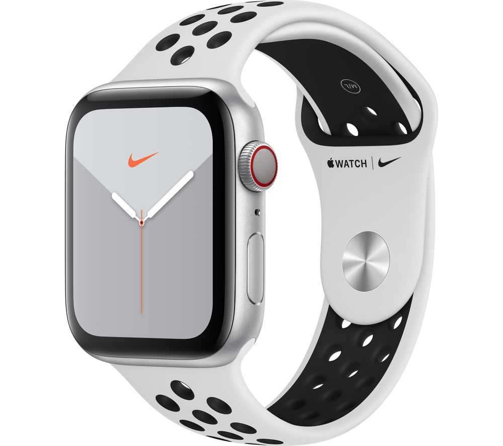 APPLE Watch Series 5 Cellular - Silver Aluminium with Platinum & Black Nike Sports Band, 44 mm