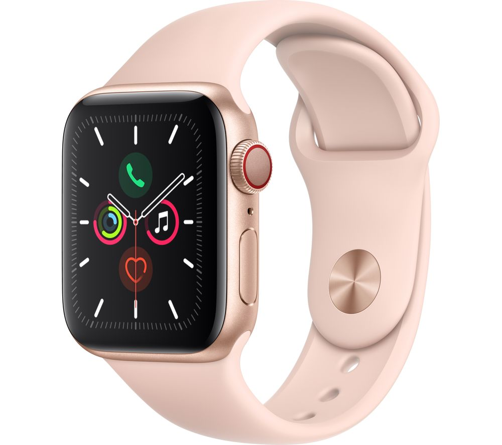 APPLE Watch Series 5 Cellular - Gold Aluminium with Pink Sand Sports Band, 44 mm