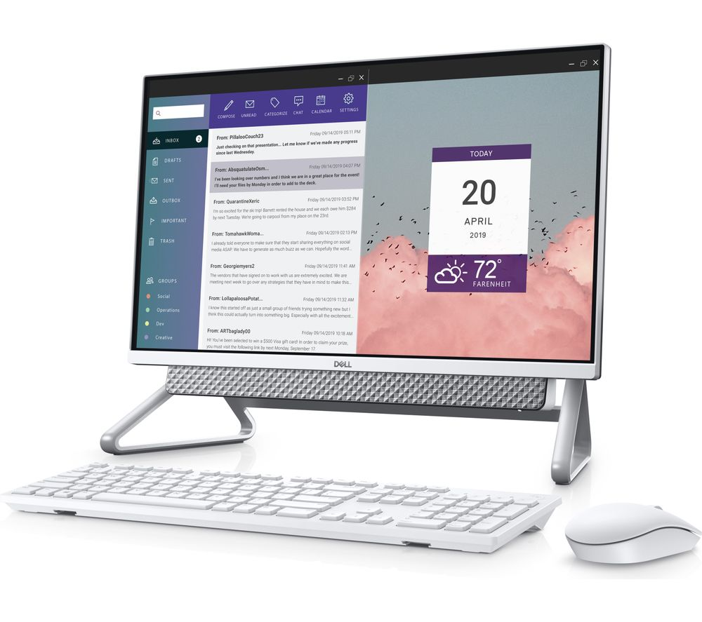 "DELL Inspiron AIO 5490 23.8"" Intel® Core™ i5 All-in-One PC - 1 TB HDD & 512 GB SSD, Silver"