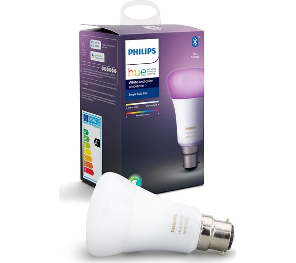 Image of PHILIPS HUE White & Colour Ambiance Bluetooth LED Bulb - B22