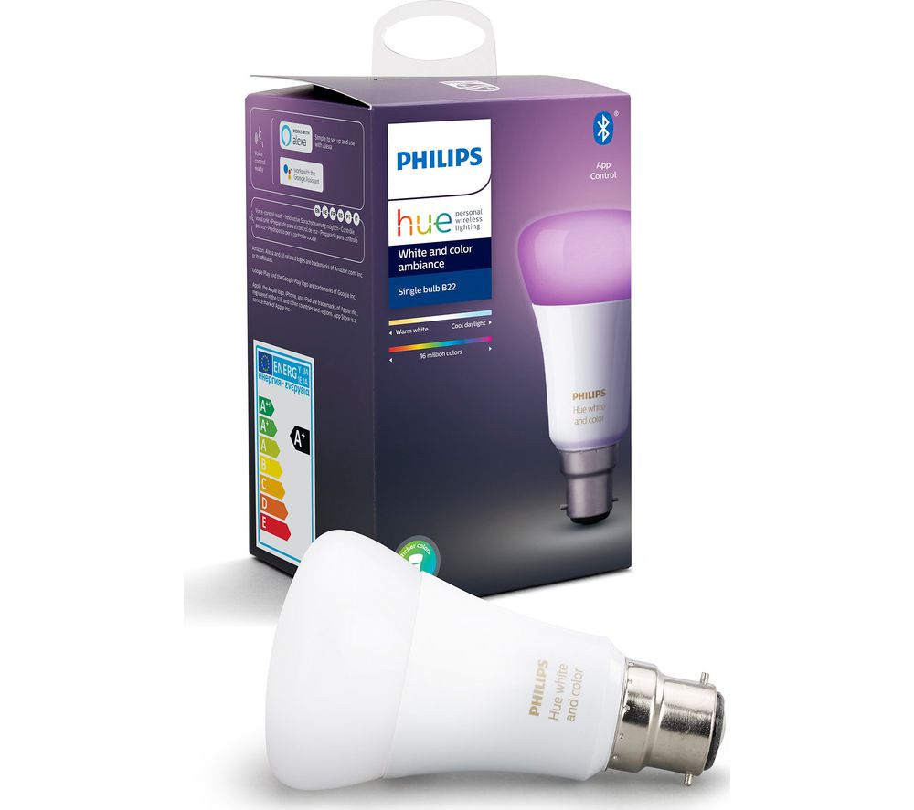 PHILIPS Hue White & Colour Ambiance Bluetooth LED Bulb - B22