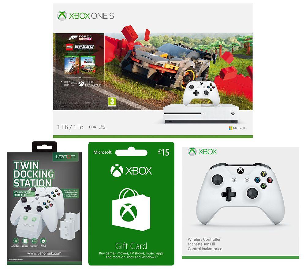 MICROSOFT Xbox One S, Forza Horizon, LEGO Speed Champions, Xbox Live £15 Gift Card, Docking Station & Wireless Controller Bundle