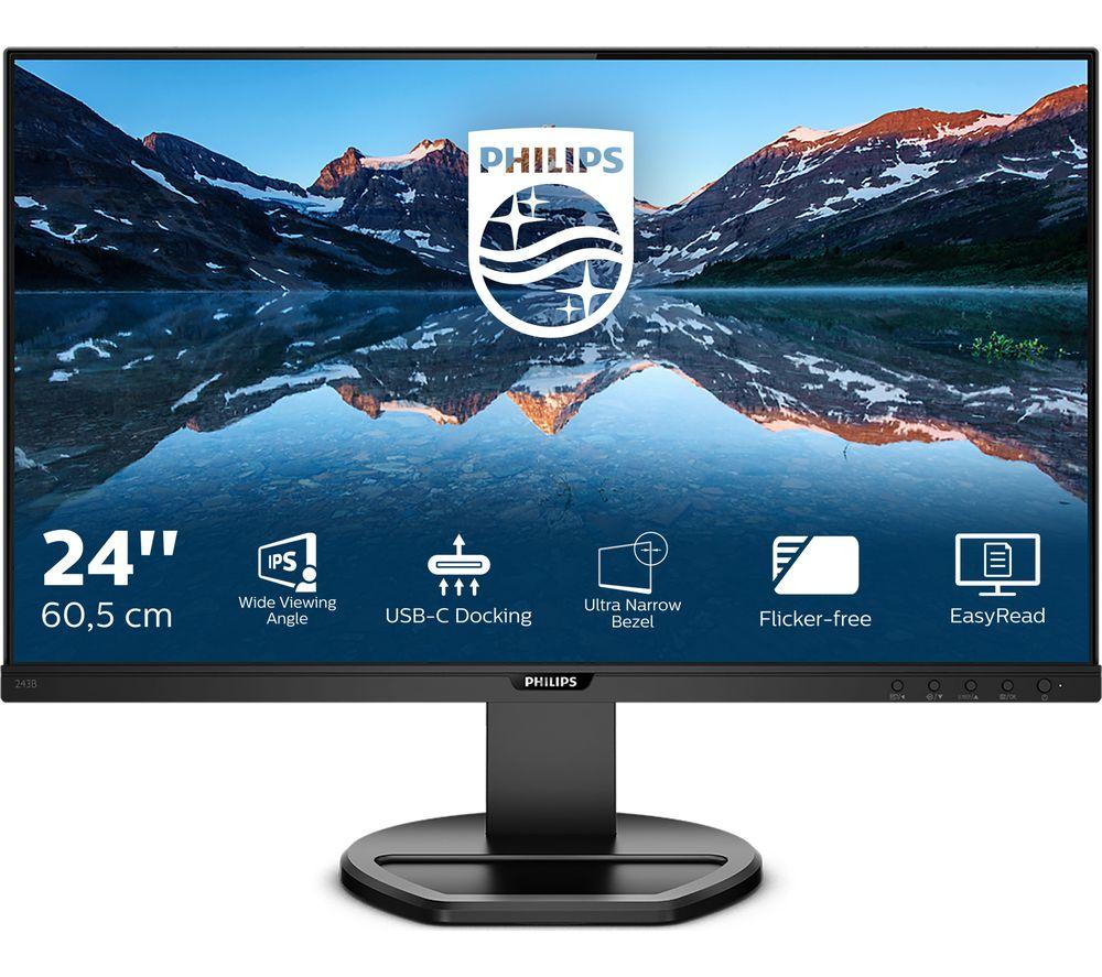 "Image of PHILIPS 243B9 Full HD 24"" LCD Monitor - Black, Black"