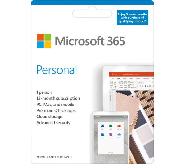 Image of MICROSOFT 365 Personal - 1 year for 1 user + 3 Months Extra Time