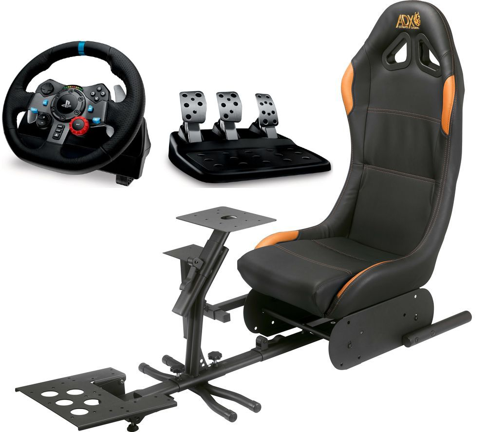 LOGITECH Driving Force G29 PlayStation & PC Racing Wheel, Pedals & ADX Gaming Chair Bundle