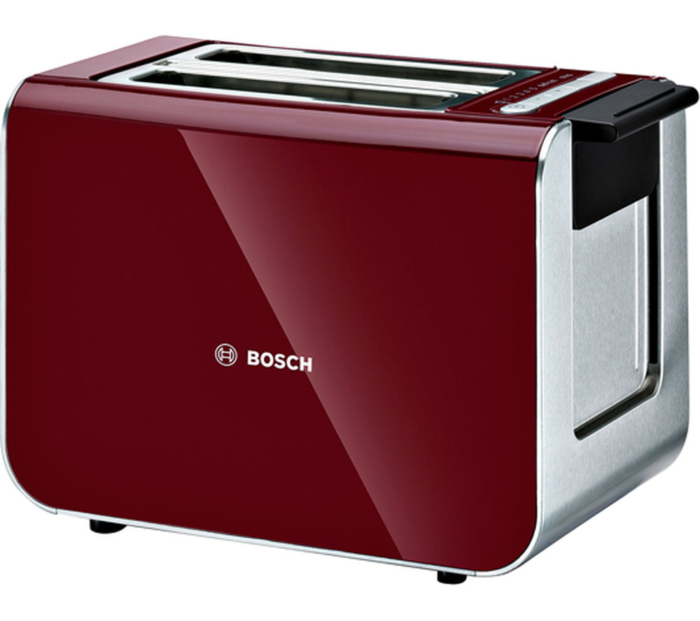 BOSCH Styline Sensor 2-Slice Toaster - Cranberry Red + Styline Sensor TWK86104GB Jug Kettle - Cranberry Red