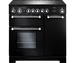 RANGEMASTER Kitchener 90 Electric Ceramic Range Cooker - Black & Chrome