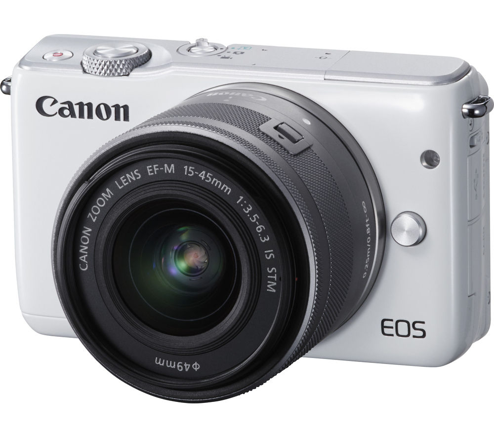 CANON EOS M10 Mirrorless Camera with 15-45 mm f/3.5-6.3 Lens - White