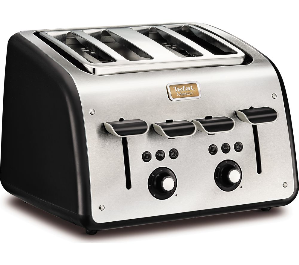 TEFAL Maison TT7708UK 4-Slice Toaster - Stainless Steel & Chalkboard Black