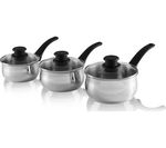 TOWER Linear T80830 3-piece Saucepan Set - Stainless Steel