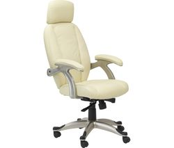 ALPHASON Bentley AOC6355-L-CR Leather Tilting Executive Chair - Cream