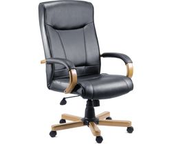 TEKNIK 85 Series 8512HLW Bonded-leather Reclining Executive Chair - Kingston Black & Oak