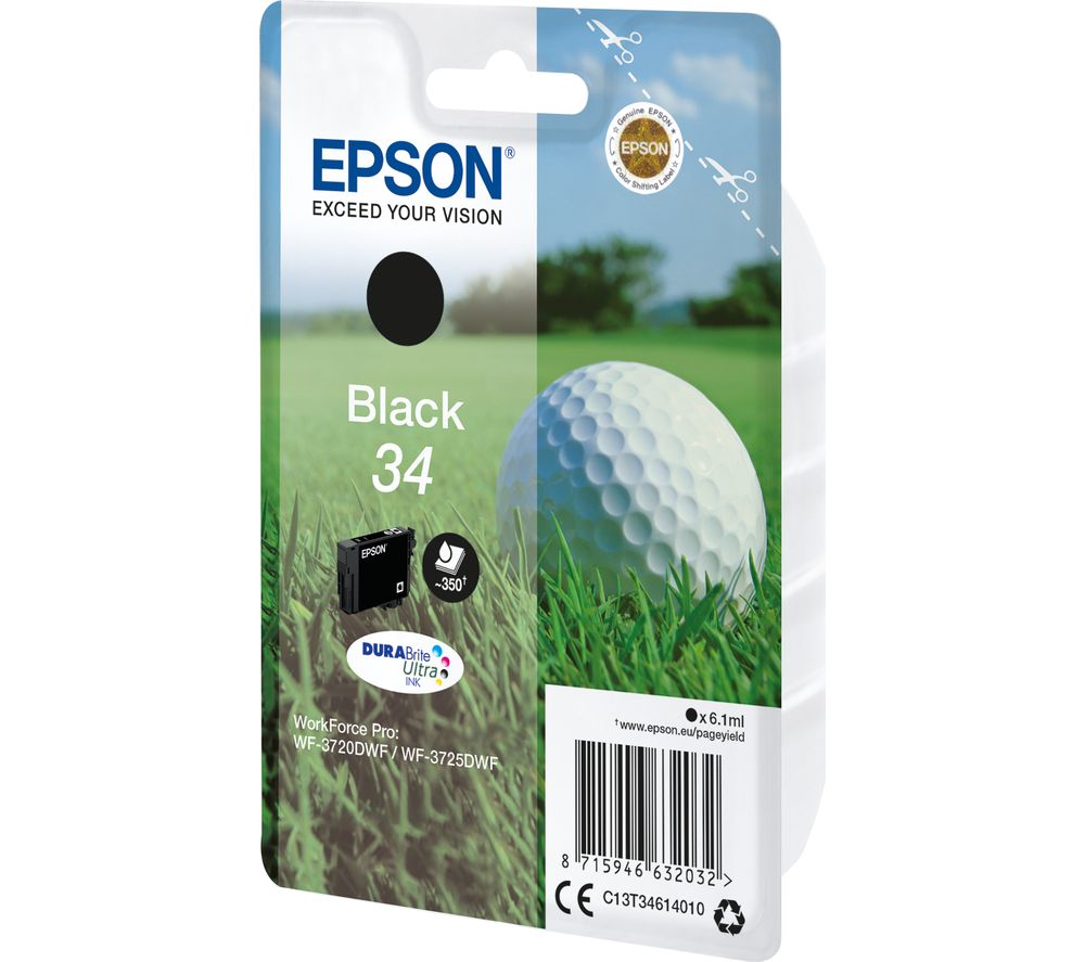 EPSON 34 Golf Ball Black Ink Cartridge, Black