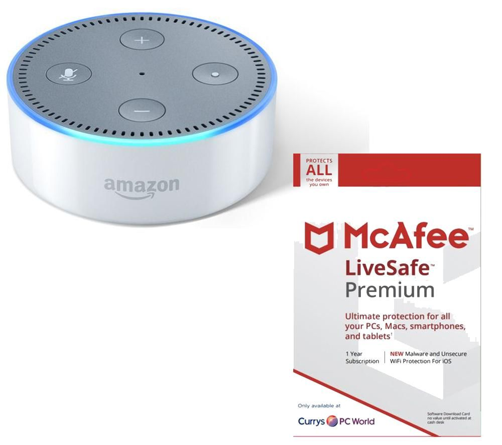 Compare retail prices of Amazon Echo Dot and LiveSafe Premium Bundle to get the best deal online
